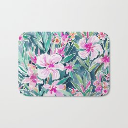 LUSH OLEANDER Tropical Watercolor Floral Bath Mat