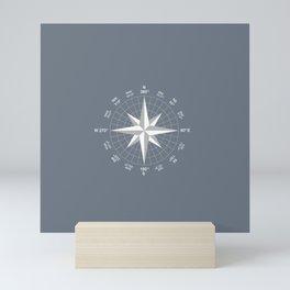 Compass in White on Slate Grey color Mini Art Print