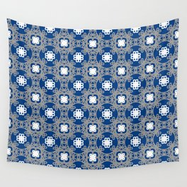 Blue white and grey square floral Wall Tapestry