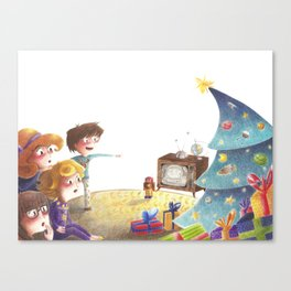 Santa on the moon Canvas Print