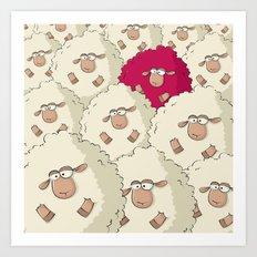 Sheep Pattern | Pink Art Print