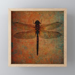Dragonfly On Orange and Green Background Framed Mini Art Print
