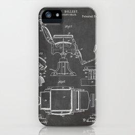 Barbers Chair Patent - Barber Art - Black Chalkboard iPhone Case