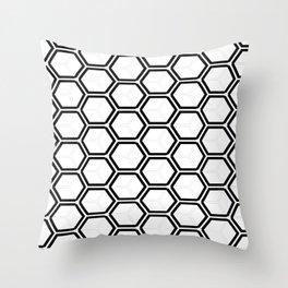 Modern black white abstract geometrical pattern Throw Pillow