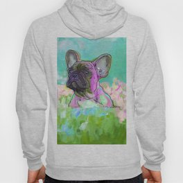 frenchie in the garden Hoody