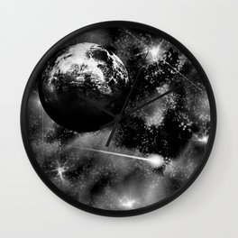 Alien planet black and grey Wall Clock