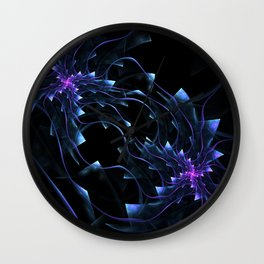 Surreal flowers fractal . Computer generated image. Neon colors Wall Clock
