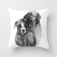 puppies Throw Pillows featuring Boxer Puppies by Danguole Serstinskaja