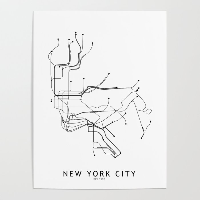 Nyc Subway Map 2017 Poster.New York City White Subway Map Poster By Multiplicity