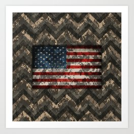 Digital Camo Patriotic Chevrons American Flag Art Print