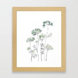 abstract queen ann's lace green Framed Art Print