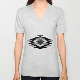 Aztec - black and white Unisex V-Neck