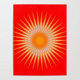 Vibrant Red Sun Mandala Poster