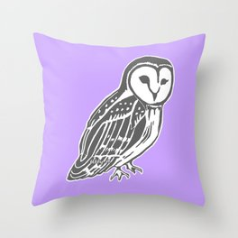 Grey Barn Owl Art Throw Pillow