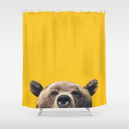 Bear - Yellow Shower Curtain