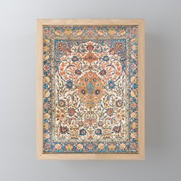 Isfahan Antique Central Persian Carpet Print Framed Mini Art Print