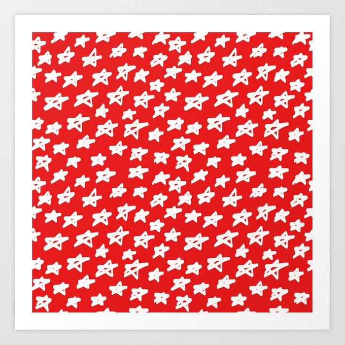 Stars on red background Art Print