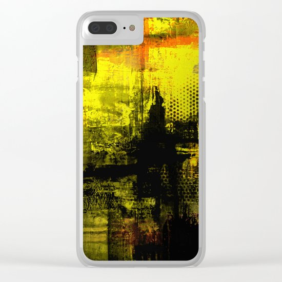 Sail Away - Abstract painting of a boat sailing into the horizon Clear iPhone Case