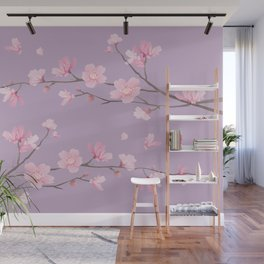 Cherry Blossom - Pale Purple Wall Mural