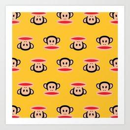Julius Monkey Pattern by Paul Frank - Yellow Art Print