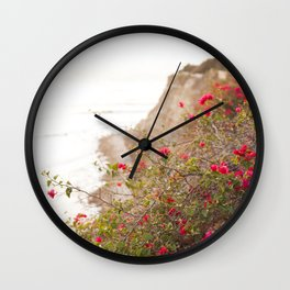 Seaside Bougainvillea Wall Clock
