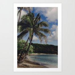 Hawaii Haze - Tropical Beach with Palm Trees Art Print