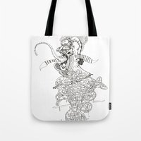 punk rock Tote Bags featuring traditional punk rock amoeba by Lanny Quarles