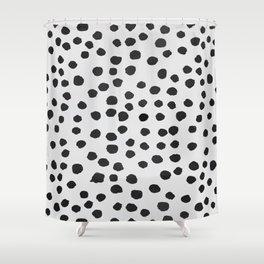 watercolor black polka dots Shower Curtain