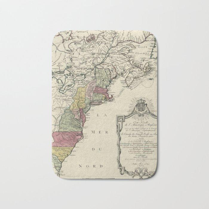 Colonial America Map by Matthaus Lotter (1776) Bath Mat