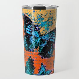 Artistic Orange-Blue Monarch Butterflies Design Pattern Travel Mug