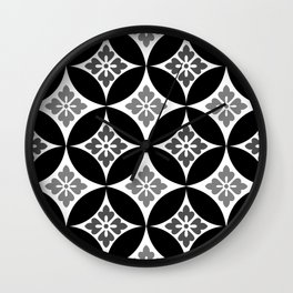 Shippo with Flower Motif, Black, White and Gray Wall Clock