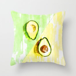 Two Tones Split Avocados. For Avocado Lovers Throw Pillow