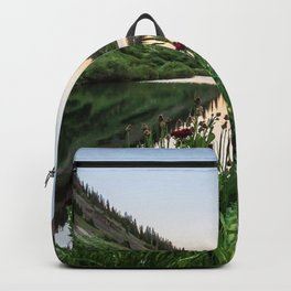 Natures Bouquet // Green and Red Floral Foreground Mountain and Moon Reflection Backpack
