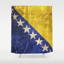 Vintage Aged and Scratched Bosnian Flag Shower Curtain