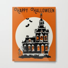 Vintage Style Haunted House - Happy Halloween Metal Print