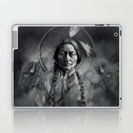 Black and white portrait-Sitting bull Laptop & iPad Skin