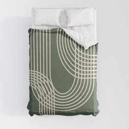 Minimalist Lines in Forest Green Comforters