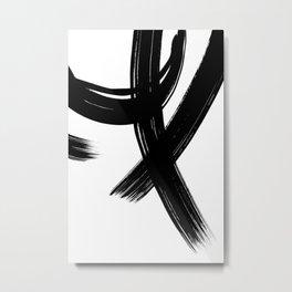 Black Abstract Brush Strokes nr 1 Metal Print