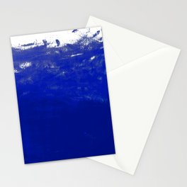 Water waves ocean sea bright blue modern painting minimal monochromatic urban dorm college art Stationery Cards