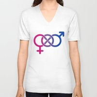 bisexual V-neck T-shirts featuring Bisexual by Clara Hollins