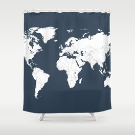 Minimalist World Map in Navy Blue Shower Curtain