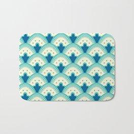 Fan Pattern Turquoise Bath Mat