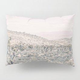 Mojave Pink Dusk // Desert Cactus Landscape Soft Cloudy Sky Mountain Scape Photograph Pillow Sham