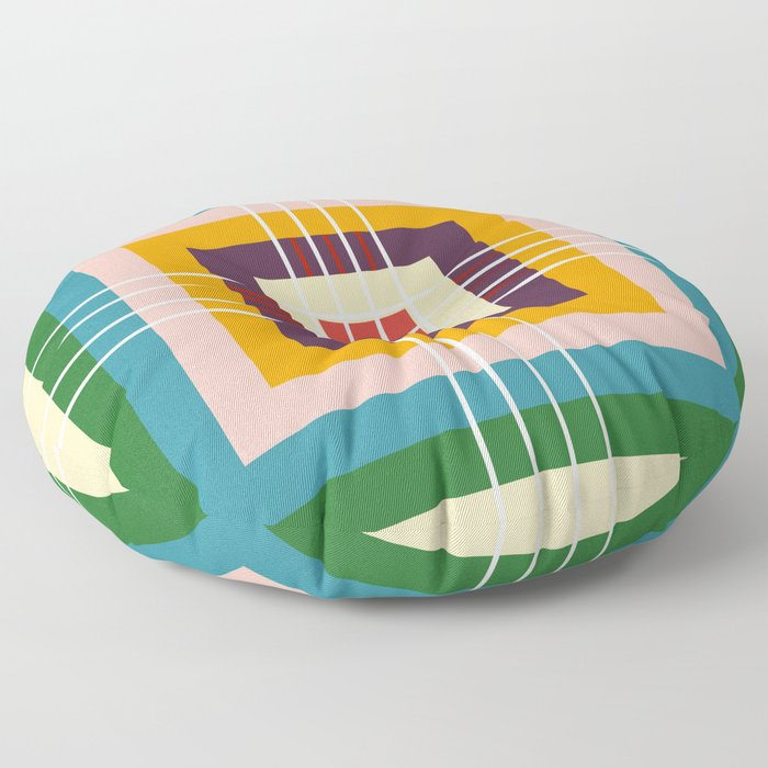 Retro Colored Abstract Shapes Floor Pillow