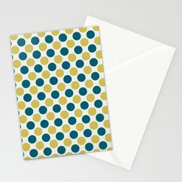 Dark Yellow and Turquoise Polka Dot Pattern on Off White Sherwin Williams Trending Colors of 2019 Oceanside Dark Aqua Blue SW 6496 Stationery Cards