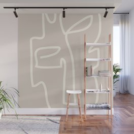 Abstract line art / Face/beige Wall Mural