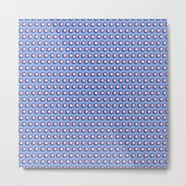 Pink polka dots superimposed on a blue background Metal Print