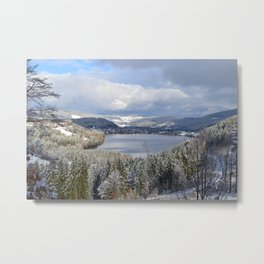 first snow on autumn leaves Metal Print