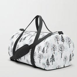 Xmas trees. Winter forest Duffle Bag