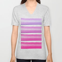 Simply hand painted pink and magenta stripes on white background  2 - Mix and Match Unisex V-Neck